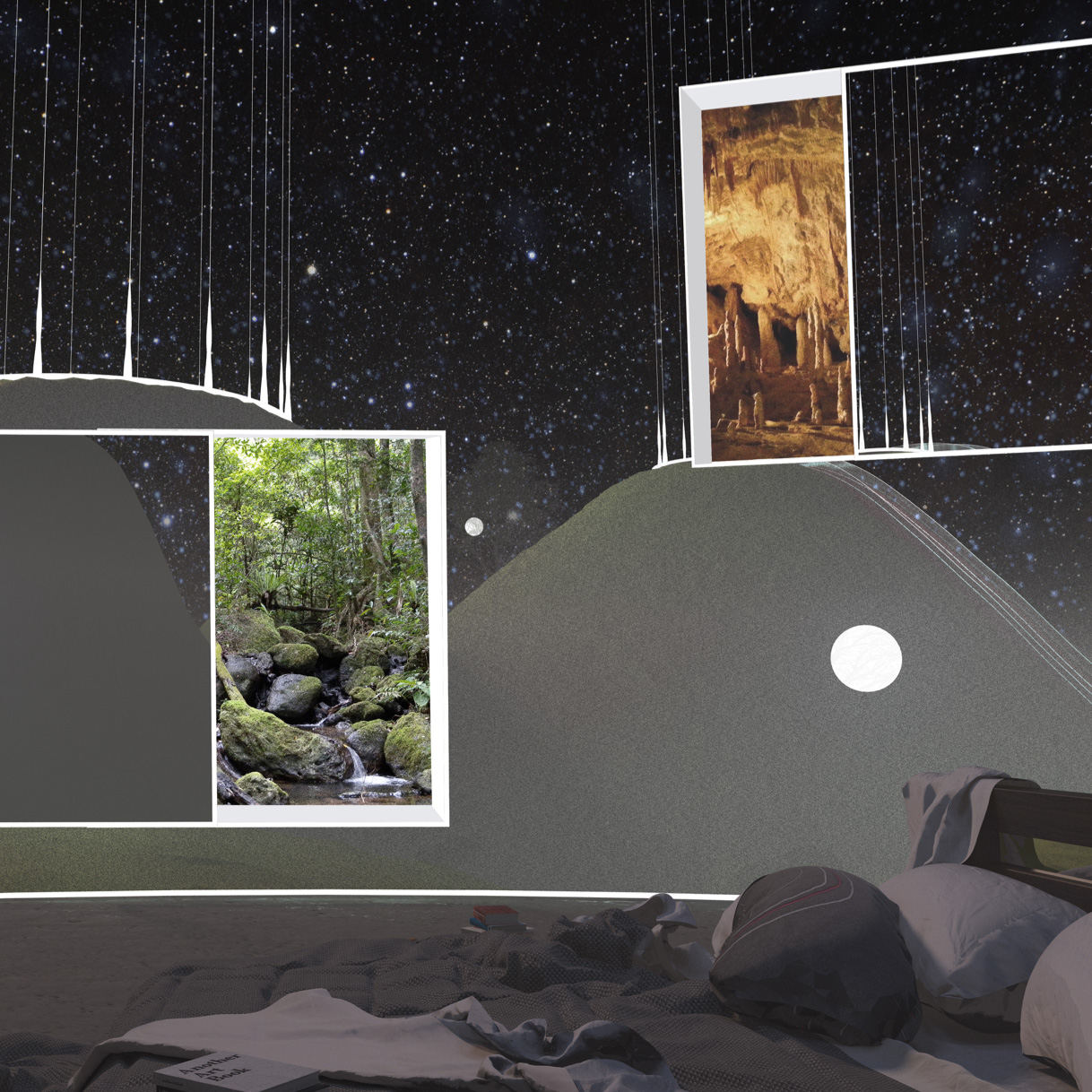 Bedroom with Overlapping Realities